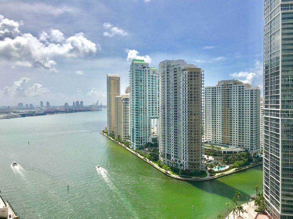 View of Miami River and Brickell Key from the Epic Hotel